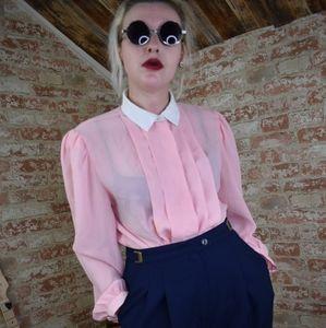 Vintage Units Sheer Pastel Pink Button Down